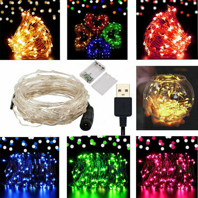 50 100 LED Fairy String Battery/USB Micro Rice Wire Lights Party Xmas Decor A79
