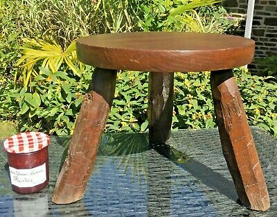 VINTAGE French OAK Stool PLANT POT STAND VERY Rustic ROUGH CUT LEGS