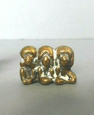 Vintage solid Brass The three wise Monkeys Ornament - Size 3cm x 2cm