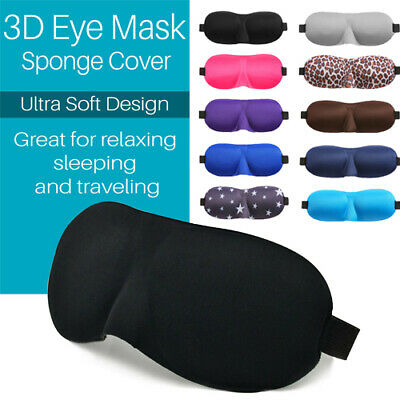 3D Soft Sponge Padded Eye Mask Rest Travel Sleep Blindfold Sleep Aid Eyeshade