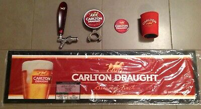 Carlton Draught Beer Tap, Handle, Badge And Bar Runner Great Condition