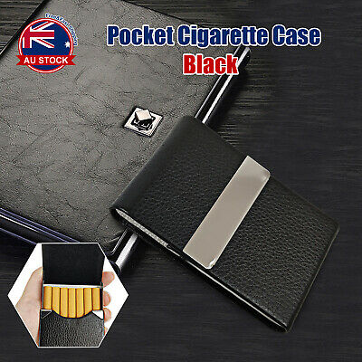 Black Stainless Steel+Pu Cigar Cigarette Tobacco Holder Case Pocket Pouch D