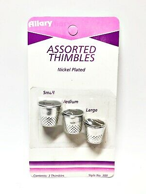 Allary Craft & Sew Style #388 Nickel Plated Assorted Thimbles, 3 Pack (S,M,L)