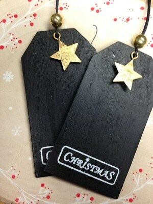 Christmas Drop Gifts Blackboard Tags Wooden star tag bottle gift tag