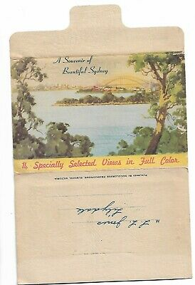 Beautiful Sydney 14 Selected Views in Full Color Old Foldout Postcard addressed