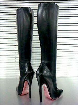 Mori Made In Italy New Heels Knee High Boots Stiefel Stivali Leather Black Nero