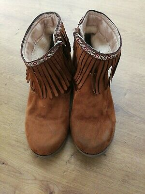 Girls Ankle Boots Size4 Tu Tan/brown