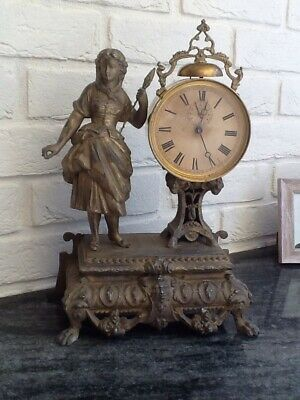 Antique Large French Metal And Brass Clock Found In Cote D'Azure .Working.