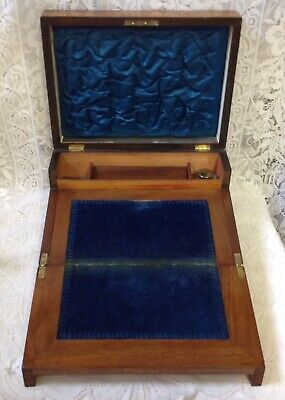 Victorian C1870 Walnut Writing Box Slope With Inlay & Blue Interior