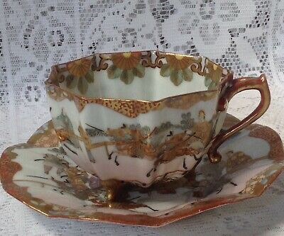Antique Japanese Satsuma Cup & Saucer, Hand Painted Samurai, Fluted, Scalloped