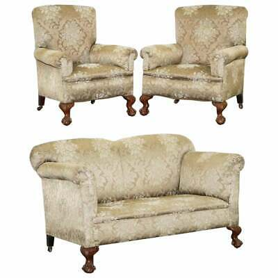 Victorian Three Piece Suite Drop Arm Sofa & Pair Of Armchairs Claw & Ball Feet
