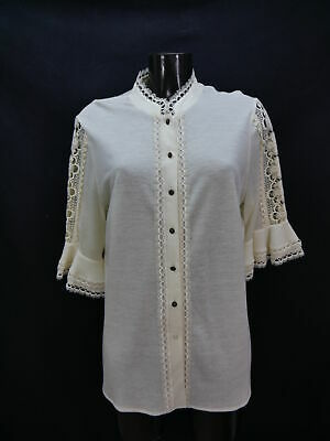 Gr.48 Trachtenbluse Bluse creme Polyestermischung Perry mit Spitze  TB5154