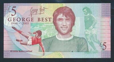 "Northern Ireland: Ulster Bank 25-11-2006 £5 ""GEORGE BEST COMMEMORATIVE"" P339 UNC"