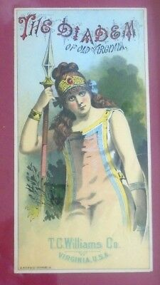 graphic old framed crate label advertising The Diadem Tobacco