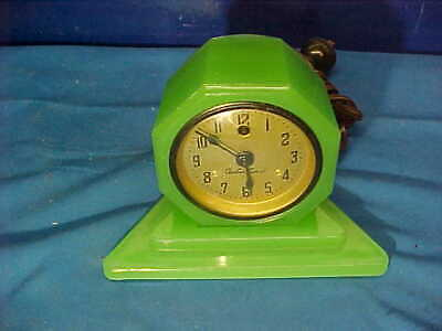 1930s ART DECO Green JADEITE GLASS Electric CADILLAC CLOCK + Undertray