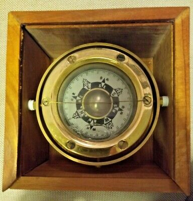 Vintage CHINESE MARINER'S COMPASS brass boxed gimble SEA divination China BOATS