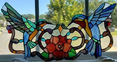 """Tiffany Stained Glass Panel -""""Hummingbirds"""""""