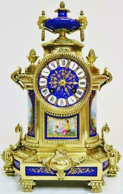 Beautiful Antique French 8Day Bronze Ormolu & Blue Sevres Porcelain Mantle Clock