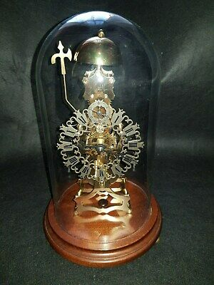 Vintage Ajk Kieninger 8 Day Bell Chime Skeleton Clock With Glass Dome