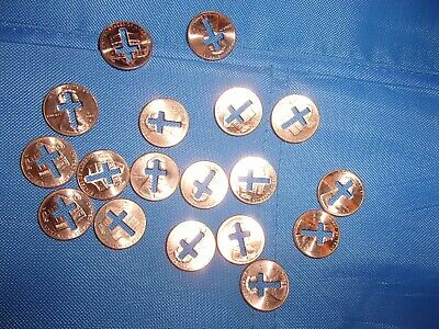 Lot Of 18 Cross Cut Out Lincoln Pennies, Nice Religious Novelty Gifts