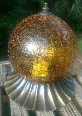 Vintage Round Amber color glass Light Fixture