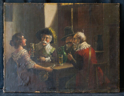 "Antique 19th Century European Original Oil ""Afternoon Hangout"" Signed Van Hager."