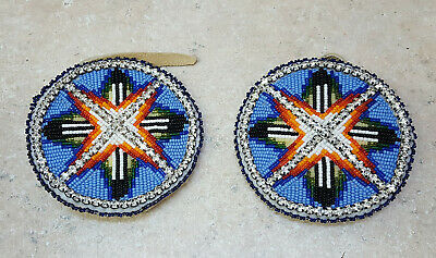 Hand Crafted Beaded Geometric Design Rhinestone Native American Indian Hairties