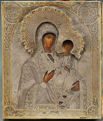 Fine Russian Silver Icon of The Iverskaya Mother of God, ca,1875.