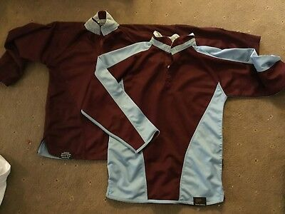 FALCON Reversible 30/32 inch RUGBY FOOTBALL LONG sleeve  12/14 CLARET BLUE