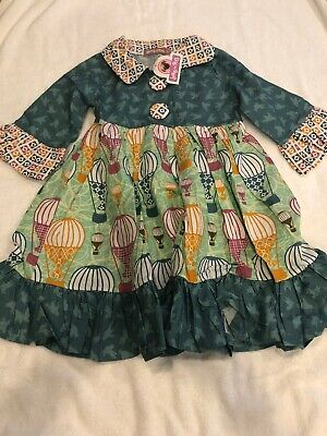 Jelly The Pug size 4 Long Sleeve Dress With Hot Air Balloons Birds dress NWT