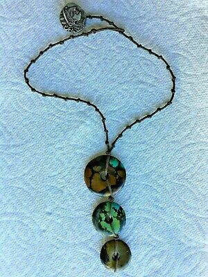 ANTIQUE 18-19th C CHINESE 3 TURQUOIS DISKS PENDANT NECKLACE VERY RARE
