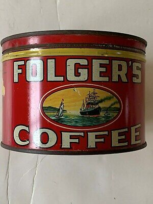 """Vintage,Folger's Coffee 1Lb,Size Can,,The Much Older Type"""",In Very Good Conditio"""