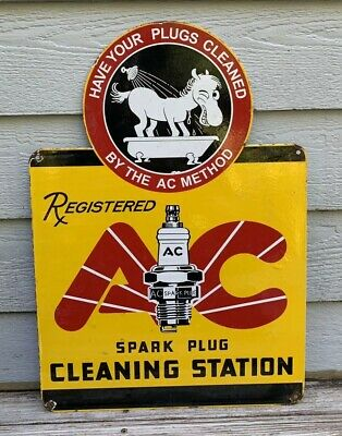 Vintage 1962 Ac Delco Spark Plug Cleaning Porcelain Sign Gas Oil Rack Plate Nos