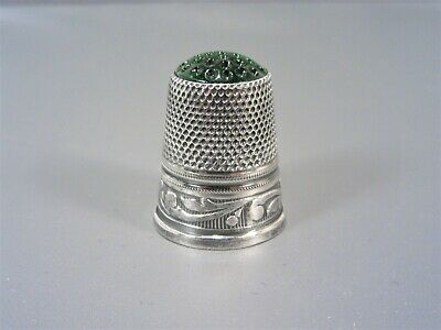 Vintage Germany Glass Top Sterling Thimble Size 8