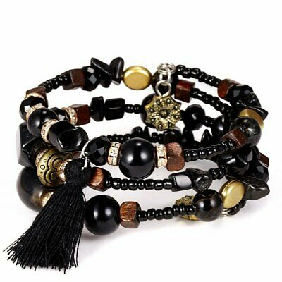 New Boho Multilayer Natural Stone Black Crystal Bangle Beaded Bracelet Jewelry