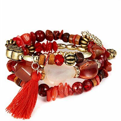 Fashion Boho Multilayer Natural Stone Red Crystal Bangle Beaded Bracelet Jewelry