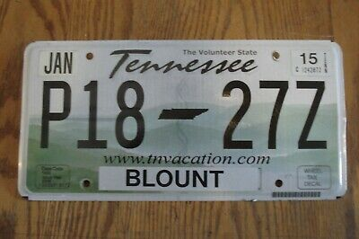 Tennessee Blount The Volunteer State P18 27Z License Plate Nr