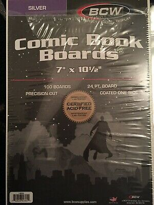 """25 loose - BCW Brand Silver Age Comic Book 7"""" Backing Backer Boards + 2MIL Bags"""