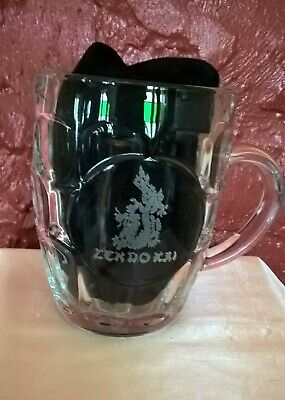 HUGE CLEAR GLASS BEER STEIN, Zen Do Kai (a martial art) motif, 570 ml. Man cave!
