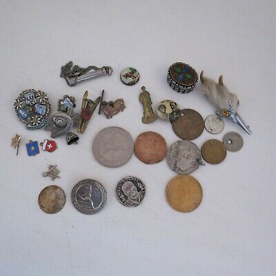 mixed lot badges holed coins silver pt pill box travel brooches whistle