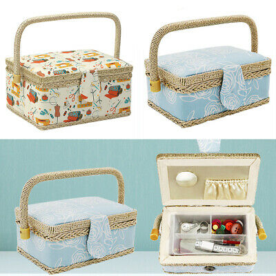 Basket Sewing Box Floral Print With Handle Handmade Removable Tray Fabric Craft