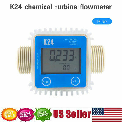 K24 Large LCD Turbine Digital Diesel Fuel Flow Meter For Chemicals Water Blue US