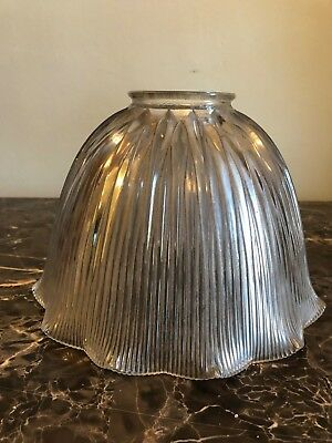 "Vintage Original Holophane Ruffled Industrial Glass Lamp Shade - 3"" Fitting"