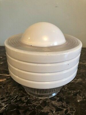 "Vintage Art Deco White Glass Lamp Light Fixture Shade Dome - 4"" Fitter"