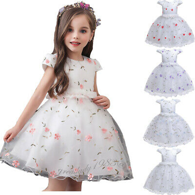 Flower Gilrs Party Princess Dress Bridesmaid Kids Tulle Prom Gown Tutu Dresses
