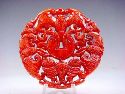 Old Nephrite Jade Stone 2 Sides Carved LARGE Pendant Bats & Coins #12211806