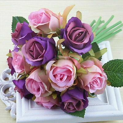 12pc Artificial Flower Fake Rose Flowers Floral Wedding Party Color Bouquet Gift