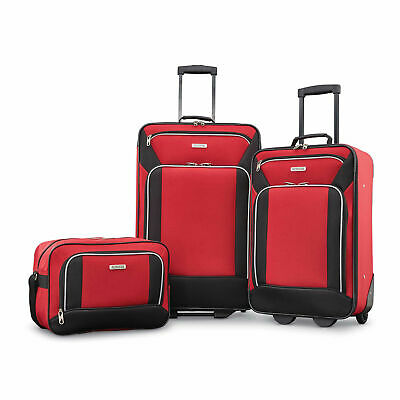 American Tourister Fieldbrook XLT 3 Piece Softside Luggage Set, Red