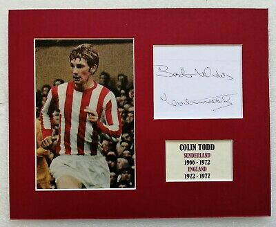COLIN TODD SUNDERLAND ENGLAND SIGNED MOUNTED FOOTBALL DISPLAY 10x8 AUTOGRAPHED