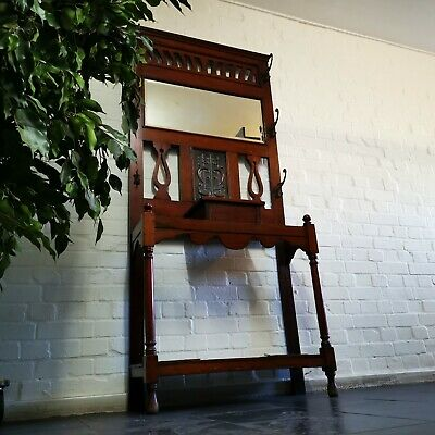 Antique Arts & Crafts Mahogany Hall Stand Bevelled Mirror & Copper Panel